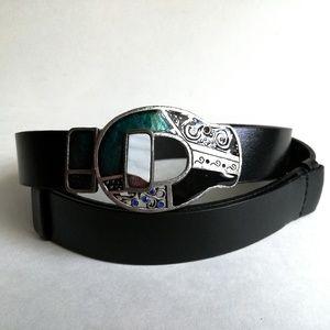 Chico's black leather adjustable belt, cool buckle
